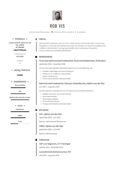 cv voorbeeld administratief medewerker 1