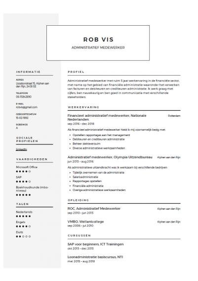 cv voorbeeld administratief medewerker 3